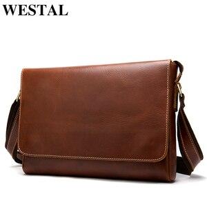 Image 1 - WESTAL genuine leather mens shoulder bag male satchels handbag bussiness document messenger bag mens crossbody bags for men