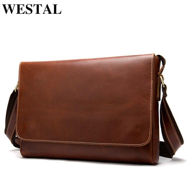 WESTAL genuine leather mens shoulder bag male satchels handbag bussiness document messenger bag mens crossbody bags for men