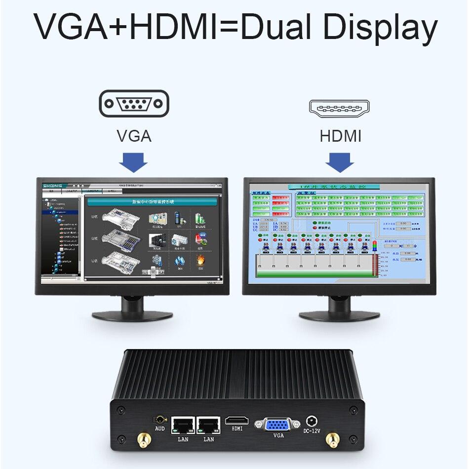 Image 3 - HLY ファンレスミニ Pc デュアル LAN Celeron N2830 J1800 J1900 Windows PC 2 * シリアルポート 2 * LAN WiFi HDMI VGA HTPC ミニコンピュータミニ PC   -