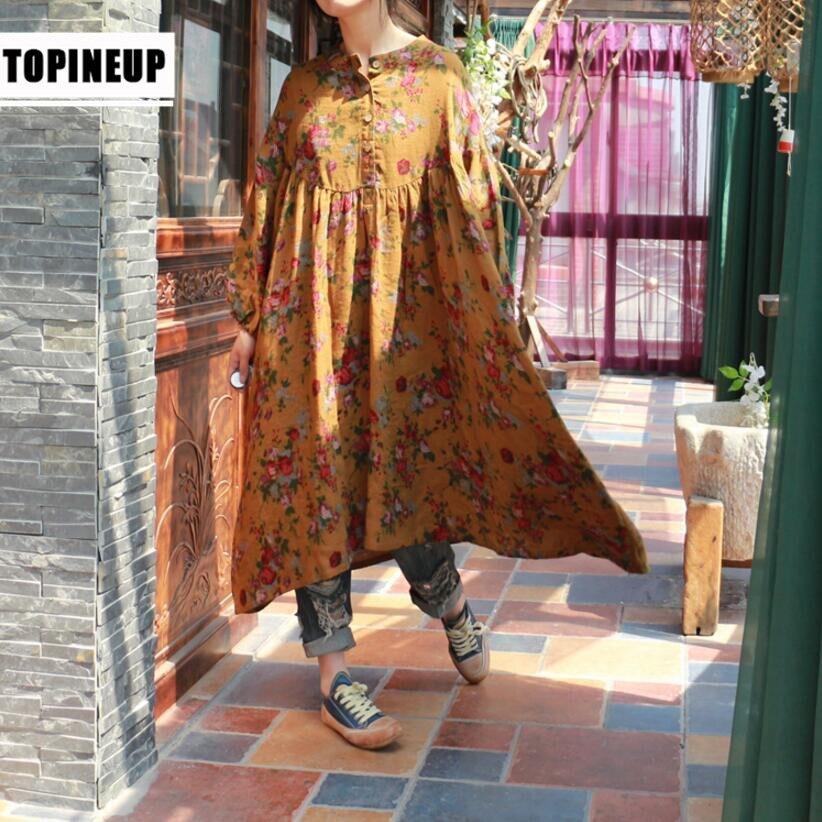 Haute qualité femmes floral impression lâche blouses surdimensionnées coton et lin chemises longues 4xl 5xl lavé vintage top np243