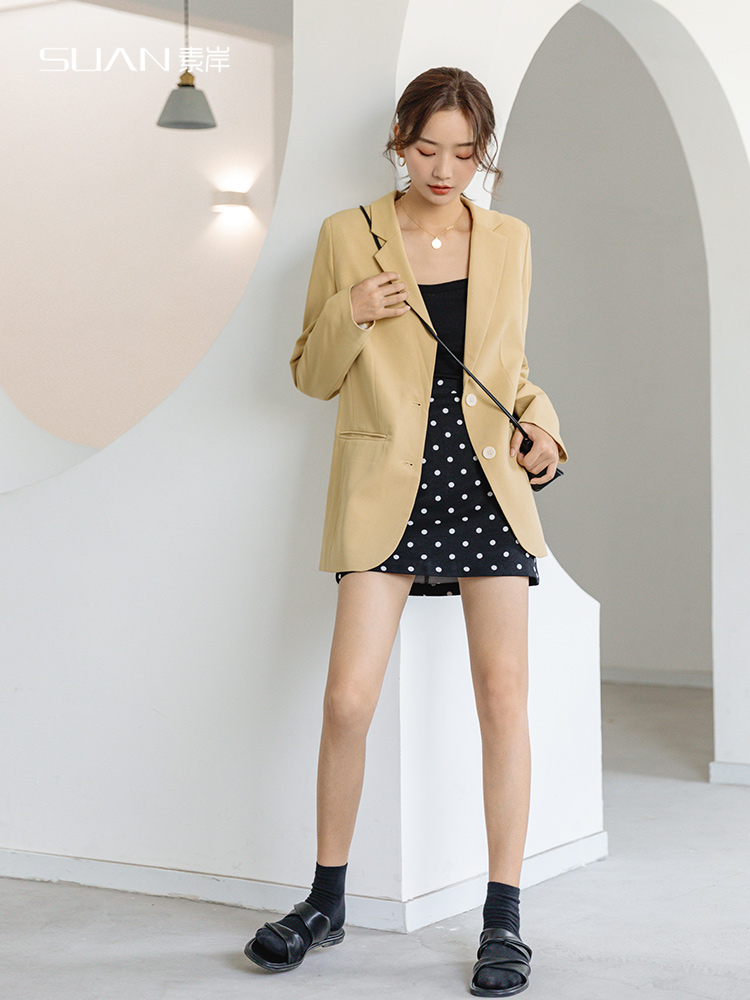 Retro Casual Ladies Blazer Solid Khaki Stylish Loose Suit Jacket Korean Office Women Blazer Spring Autumn Large Size MM60NXZ