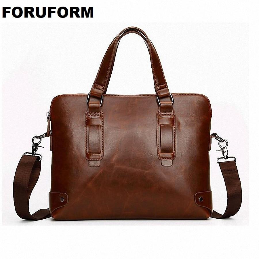 Crazy Horse Leather Men's Briefcase Handbags Messenger Bags Business Travel Bag Man Vintage Men Shoulder Crossbody Bag LI-602