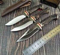 Flower antler outdoor camping knife hand forging high hardness straight knife bush survival Hunting Knife