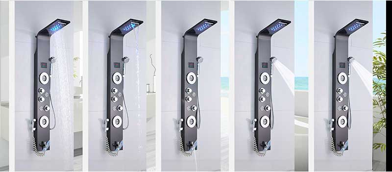 He2c3810ab21c4d06be1f6653d2ee15427 Black LED Light Shower Faucet Bathroom SPA Massage Jet Shower Column System Waterfall Rain Shower Panel Bidet Sprayer Tap