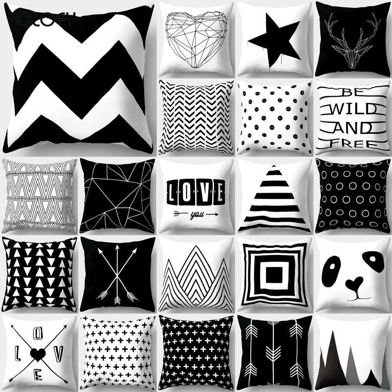 Cushion Cover Simple Black and White Back Cushion Set Polyester Throw Pad Set Striped Mesh Triangle Geometry Home Cushion Cover.