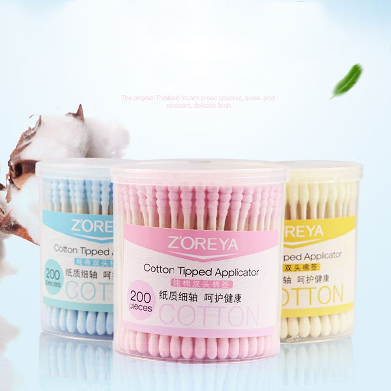 200Pcs New Disposable Cotton Swab Applicator Swabs Ear Cleaner  NEW