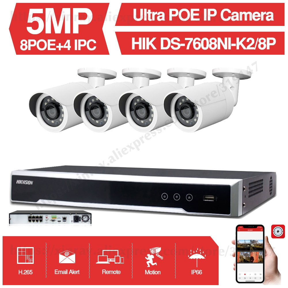 8CH CCTV System 4PCS Ultra 5MP Outdoor Security POE Camera With Hikvision 8 POE NVR DS-7608NI-K2/8P DIY Video Surveillance Kits