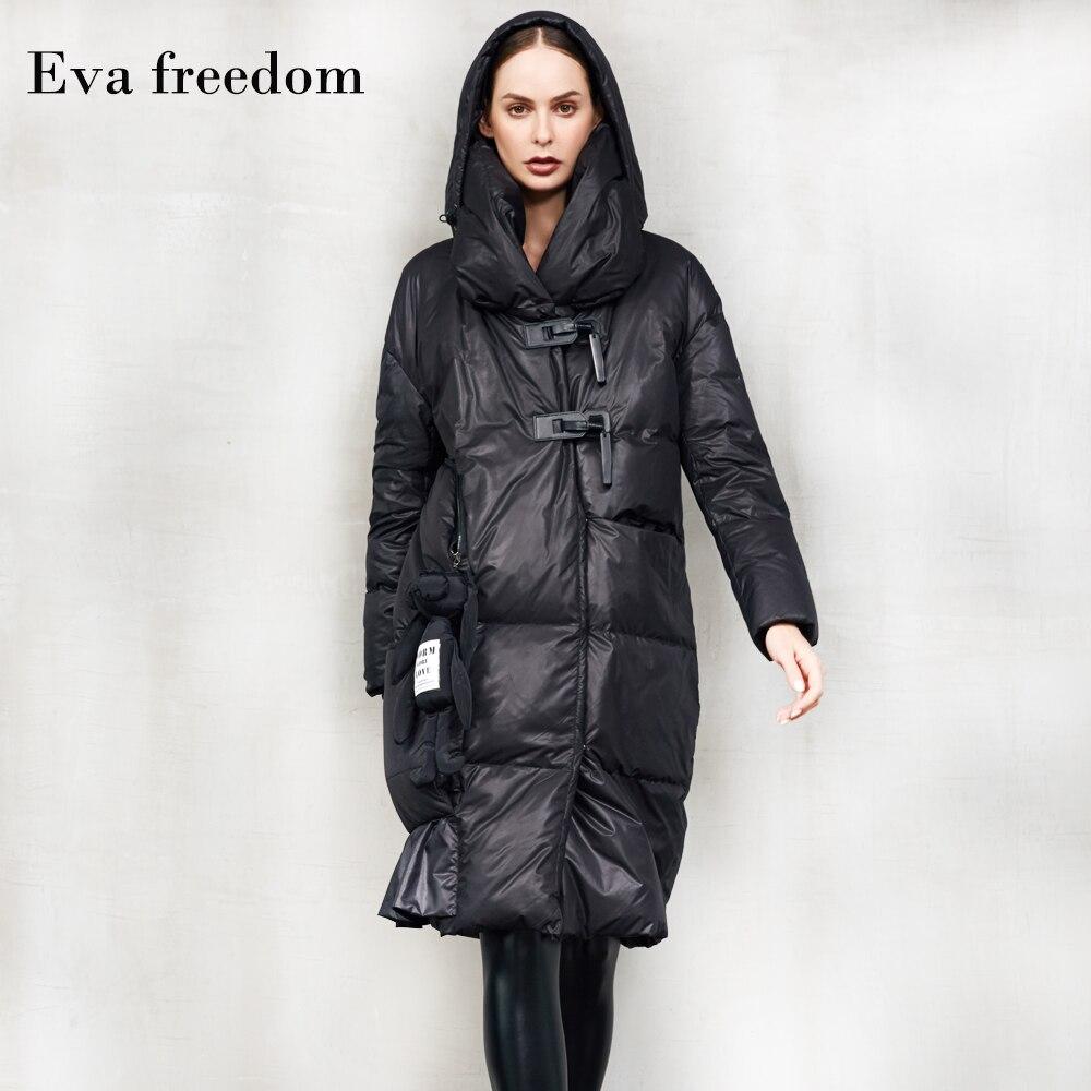 Abrigo grueso cálido con capucha para mujer Original de gran tamaño abrigos de plumón de pato más largos abrigo grueso F69 para-20 frío el tiempo