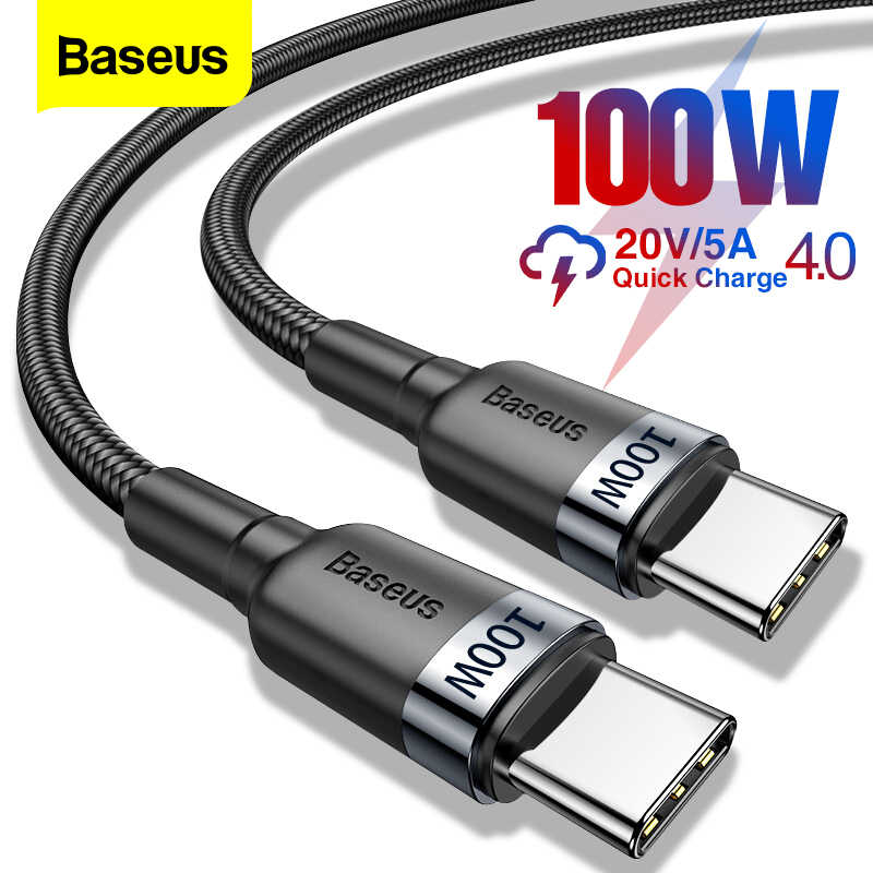 Baseus 100 w usb c para usb tipo c cabo usbc pd carregador rápido cabo USB-C tipo-c cabo para xiaomi mi 10 pro samsung s20 macbook ipad