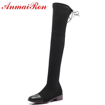 AnmaiRon  Basic  Round Toe   2018 Woman  Genuine Leather  Over The Knee Boots  Fashion Shoes 2018 Women Shoes Size 34-39 LY210