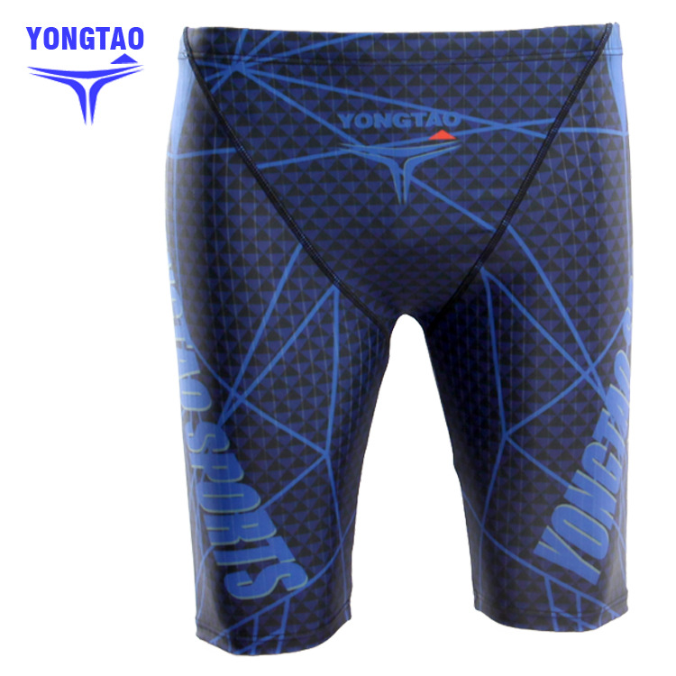 5 Swimming Trunks Knee-Length Swimming Trunks Long Swimming Trunks Digital Printed Webbing Drainage Line Groove Swimming Trunks