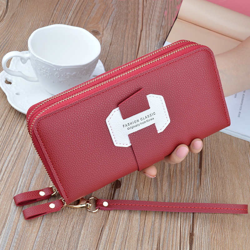 Women Leather Large Capacity Wallet Double Zipper Wallet Clutch Phone Pocket UK