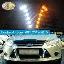 Luz de circulación diurna para Ford Focus 3 MK3 2012 ~ 2015, cubierta de luz antiniebla LED con funciones de señal de giro amarilla