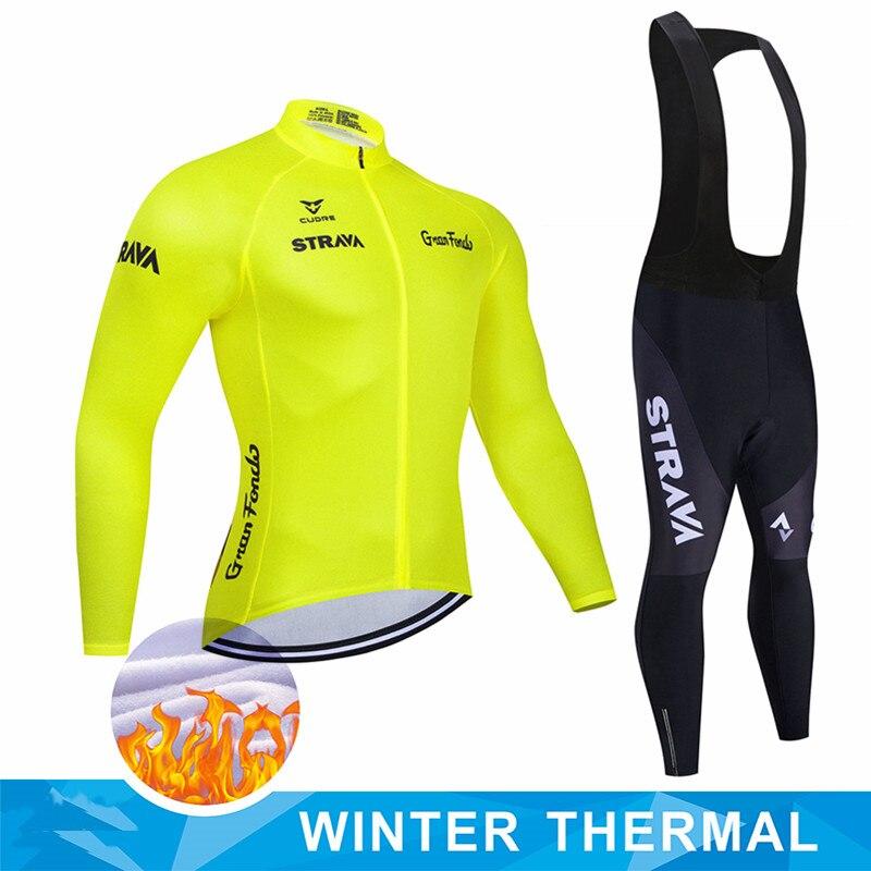 STRAVA зимний теплый флисовый мужской профессиональный комплект для велоспорта, велосипедный костюм с длинным рукавом, уличная спортивная од...