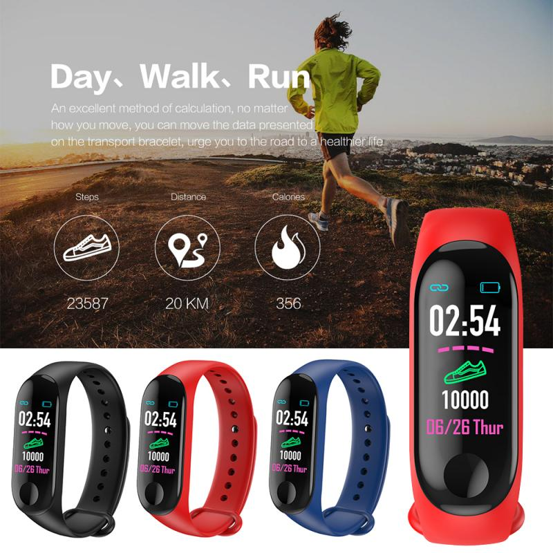 M3 Plus Smart Pedometer Bracelet Blood Pressure Heart Rate Monitor Smart Wristband Fitness Running Walking Tracker Pedometer