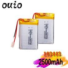 3.7 V 103443 akumulator litowo-polimerowy 2500 mah pojazd podróżny rejestrator danych LED głośniki zabawki Radio recorder advocam FD 3