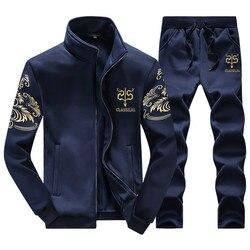 Bonito primavera otoño hombres traje de ropa deportiva conjunto ropa chándal hombres 2 piezas Casual sudaderas y pantalones de talla grande 7XL 7XL 9XL 9XL