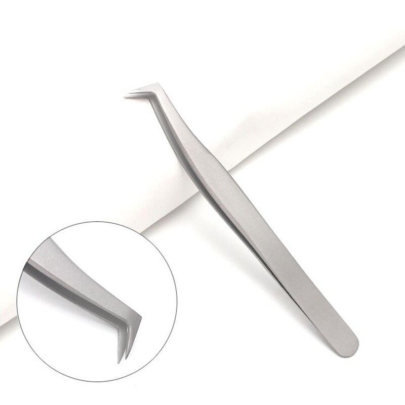 Mtssii False Eyelash Tweezers Stainless Steel Non-magnetic Antistatic Eyelashes Tweezers Extension