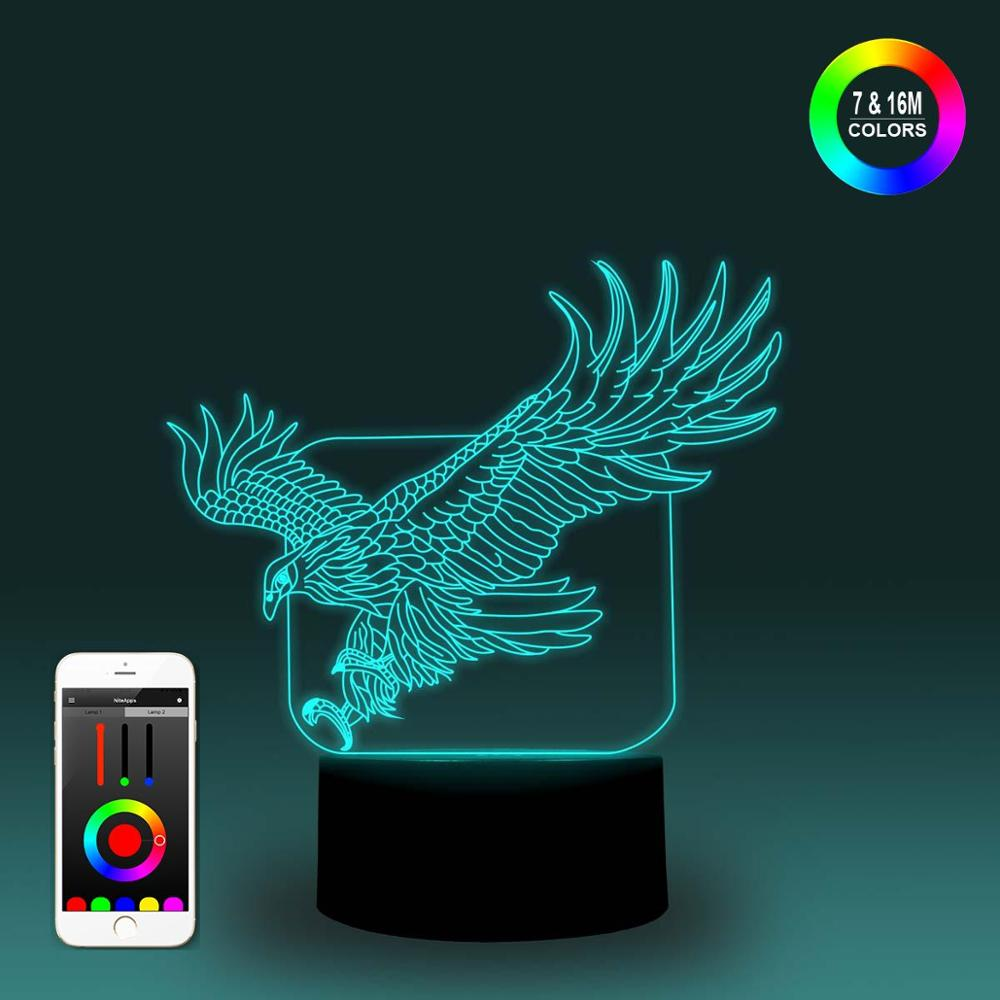 NiteApps 3D Flying Eagle Night Light Desk Table Illusion Decoration Lamp Holiday Birthday Gift APP/Touch Control