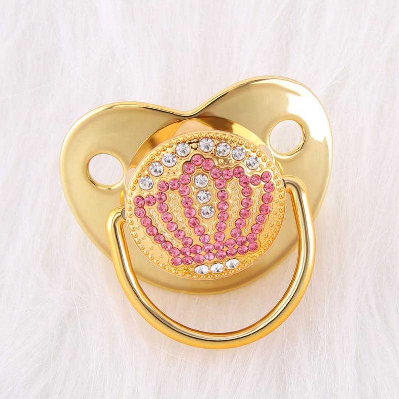 0-18 meses de luxo bebê chupeta bling coroa chupeta com strass rosa bebê ortodôntico manequim cristal chupeta mamilo