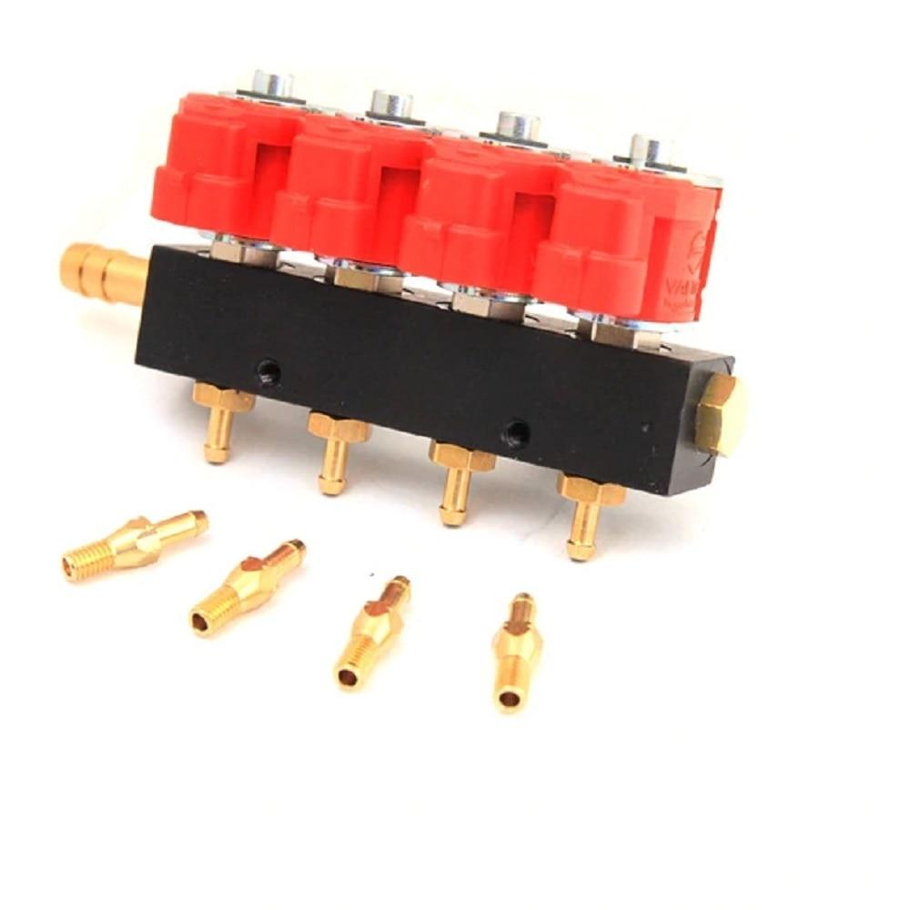 4 cilindro 3Ohms CNG LPG Injector Rail Injector Comum Ferroviário injector de gás de alta velocidade e acessórios