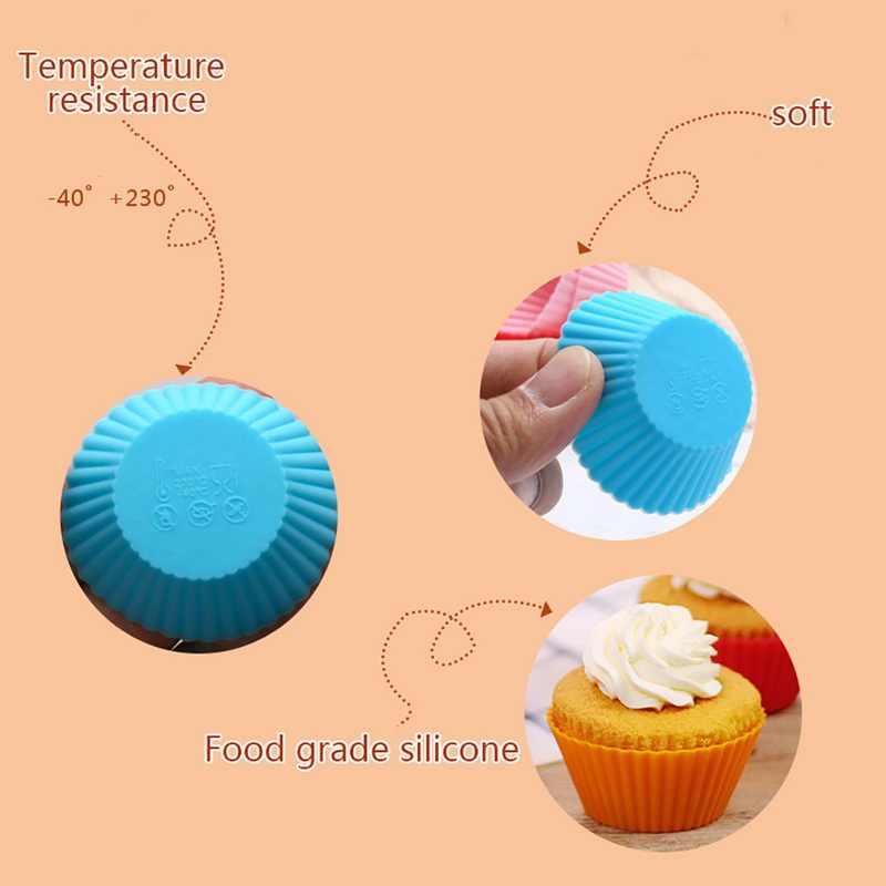 12 sztuk papilotki do pieczenia Liner foremki do pieczenia okrągły kształt silikonowa forma na babeczki Maker Mold taca DIY ciasto dekorowanie narz...