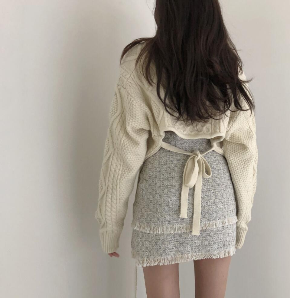 Cropped Twist Sweater Pullover Women V Neck High Waist Back Lace Up Thick Sweater 2019 Winter Korean Batwing Sleeve Knitted V523