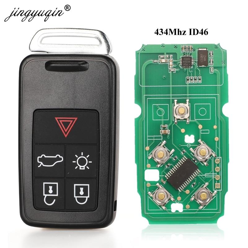 Jingyuqin 5 кнопки дистанционного ключа автомобильный смарт ключ-брелок 434 МГц ID46 чип для Volvo XC60 S60 S60L V40 V60 S80 XC70 KYDZ Замена