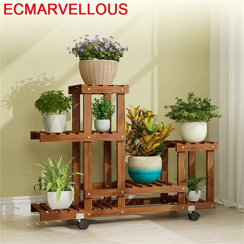 Madera Estante Mueble Para Plantas Table Indoor Garden Shelves For Pot Dekoration Balcony Flower Shelf Rack Plant Stand