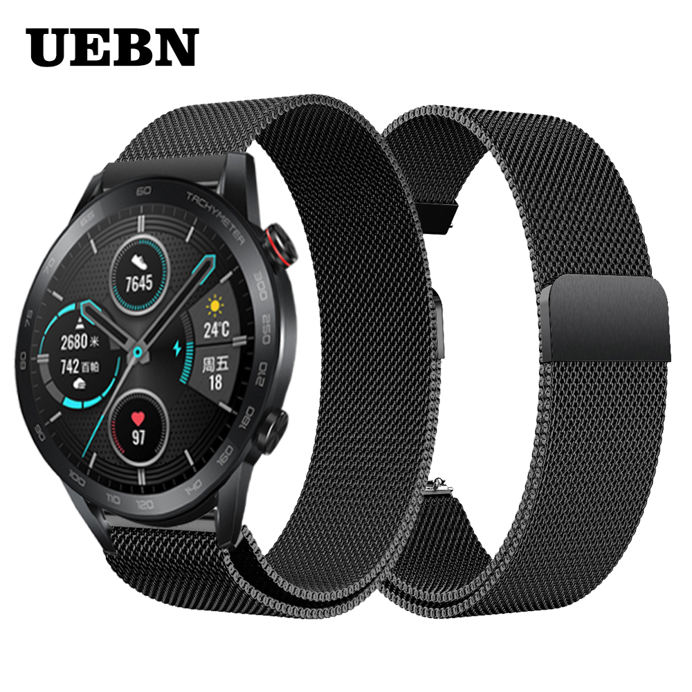 UEBN 20mm 22mm Milanese Loop Replacement Band For HuaWei Honor Watch Magic 2 Strap & Watch GT 2 42mm 46mm Watchbands