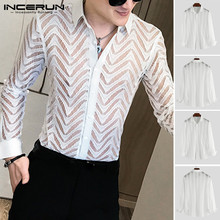 Men Breathable Sexy Lapel Shirts Fashion Men Long Sleeve Lace Shirt See Through Button Party Nightclub Mesh Blouse Plus Size butterfly sleeve button through crop blouse