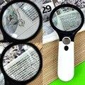 3 светодиодный светильник ручной ювелирный лупа для чтения Лупа 40X 5X Увеличительное Стекло Лупа