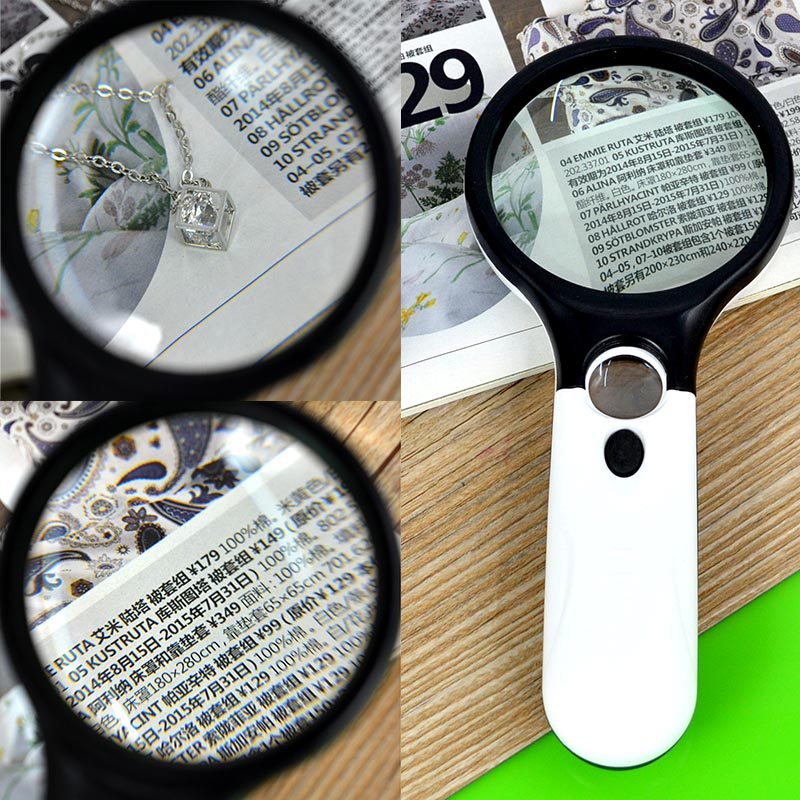 Handheld Jewelry Magnifier 40X 5X 3 LED Light Reading Magnifying Glass Loupe Magnifier Lab Magnifier For Older