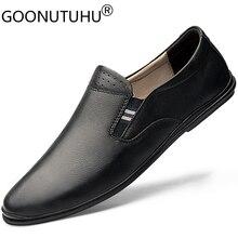 2020 男性の靴カジュアル本革ローファー男性クラシック白黒靴男駆動するため男性サイズ 37 46
