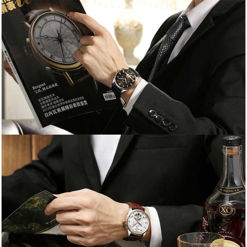 KINYUED Tourbillon ผู้ชายนาฬิกาข้อมือหนัง Casual Business Men Skeleton นาฬิกาอัตโนมัติ erkek Kol saat montre Homme