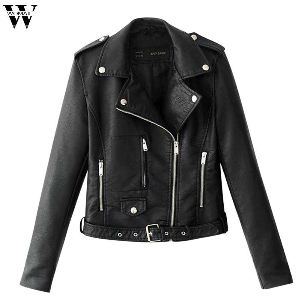 Womail Herbst Frauen Punk Leder Motorrad Jacken Mäntel Zip Up Biker Flug Casual Top Mantel Outwear Damen Revers Motor Jacken