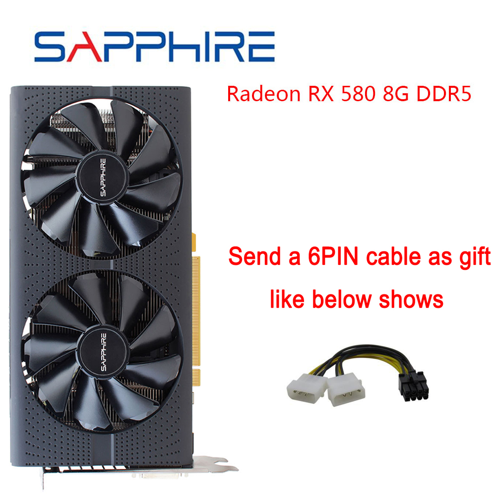 New SAPPHIRE AMD RX580 Video Card Radeon <font><b>RX</b></font> <font><b>580</b></font> 8GB <font><b>GDDR5</b></font> 256bit PCI Desktop PC Gaming Graphics Card for Gaming Used Cards image