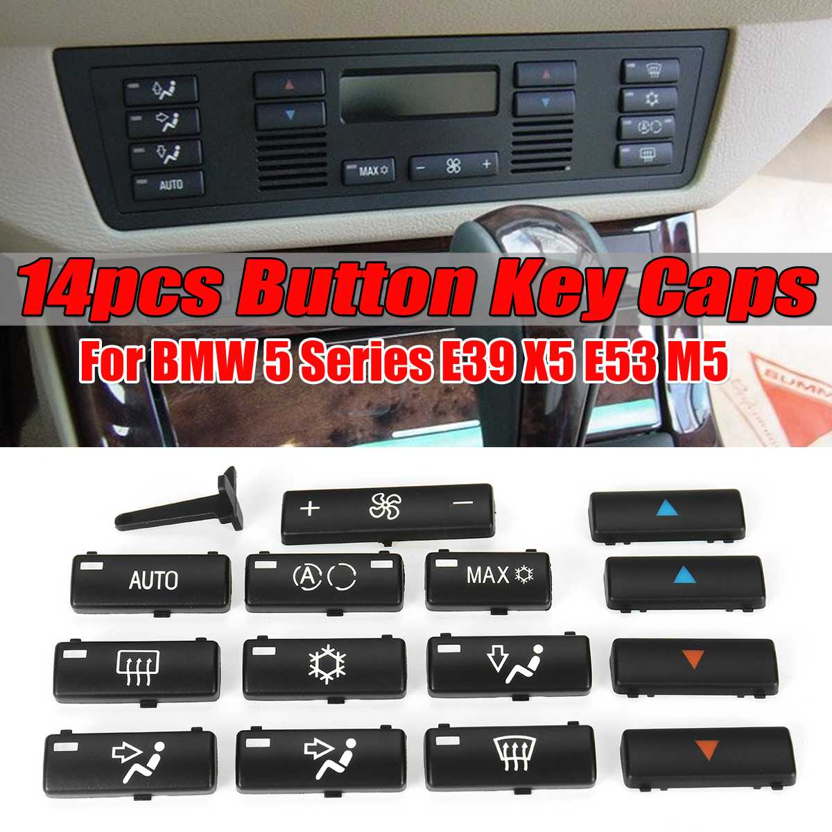 14 Button Key Caps Replacement Climate A/C Control Control Panel Switch Buttons Cover Caps For BMW E39 E53 525i 530i 540i M5 X5