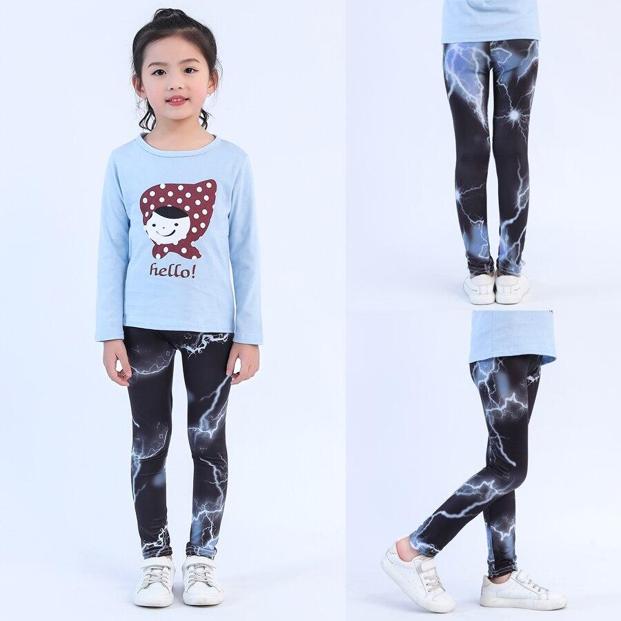 VEENIBEAR New Style Print Girl Leggings Skinny Cool Summer Girl Pants Children Kids Pants Baby Girl Clothes Trousers Age 4-11Y 3