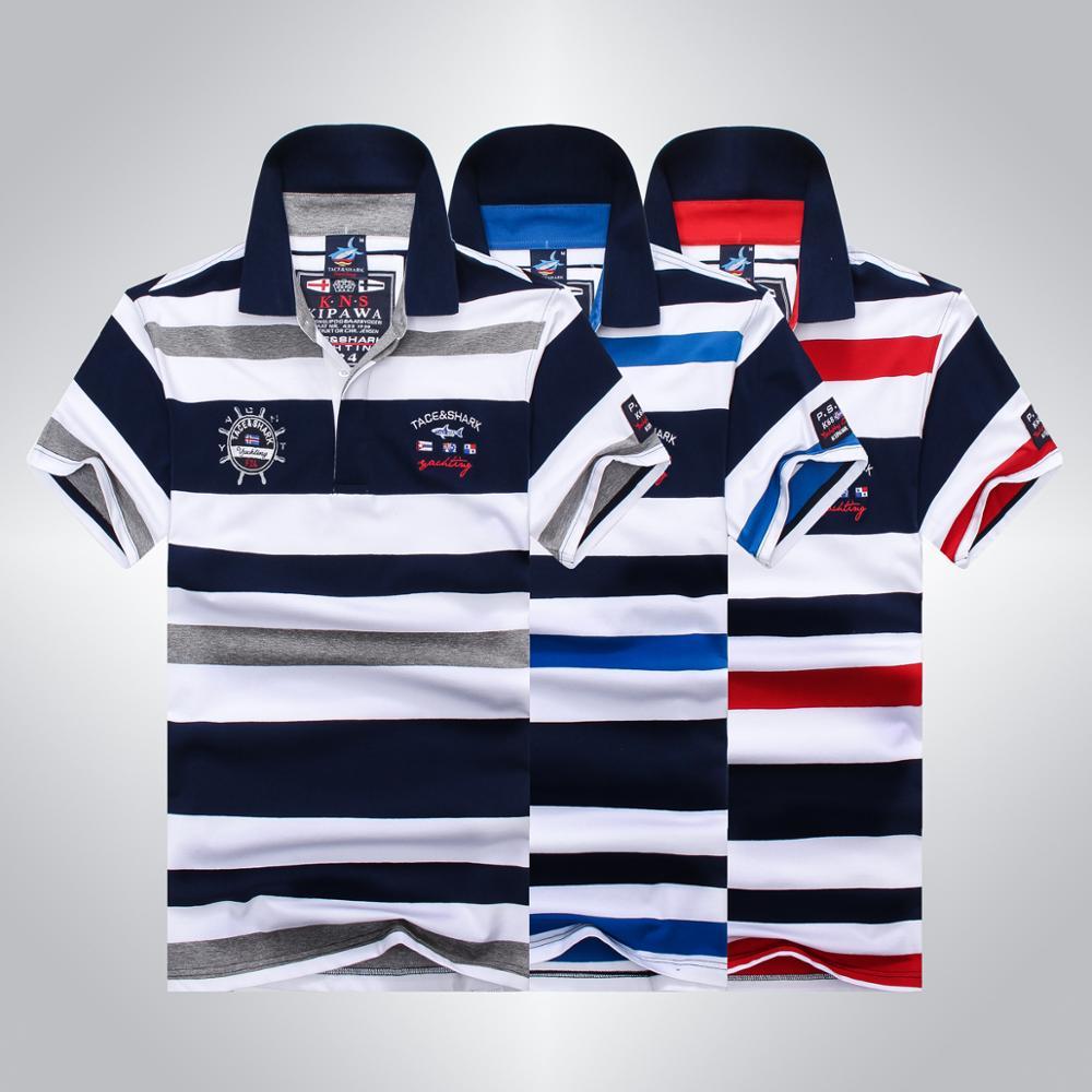 2020 High Quality Tops&Tees Men's Tace Shark Polo Shirts Fashion Style Summer Striped Shark Brand Short Sleeve Polo Shirt Men