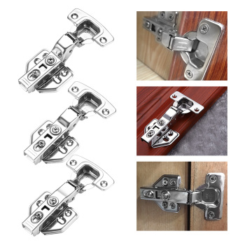4pcs Furniture Full/Embed Hinge Stainless Steel Cabinet Door Hinges Hydraulic Damper Buffer Soft Close Face Kitchen Cupboard