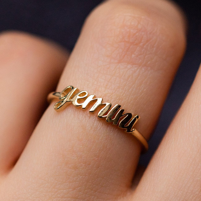 Minimalist thin Open Gold 12 Star Signs Finger Rings Birthday Friendship Jewelry Gift  Personality Custom Zodiac Rings For Women 2