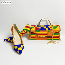 WENZHAN High Heel Shoes Mixed African Cotton Wax women shoes pumps With Matching Clutch Bags Sets 36 43 912 4