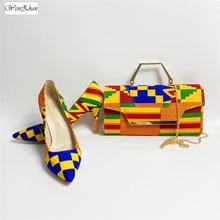 WENZHAN รองเท้าส้นสูงผสมผ้าฝ้ายแอฟริกัน WAX รองเท้าผู้หญิงปั๊มพร้อมกระเป๋าคลัทช์ชุด 36 43 912  4
