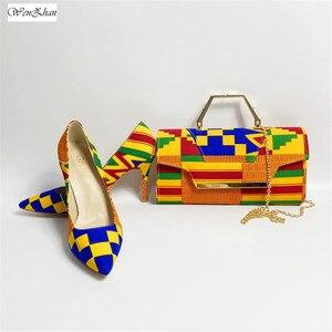 Image 1 - WENZHAN yüksek topuk ayakkabı karışık afrika pamuk balmumu kadın ayakkabı pompaları eşleşen el çantası setleri 36 43 912  4