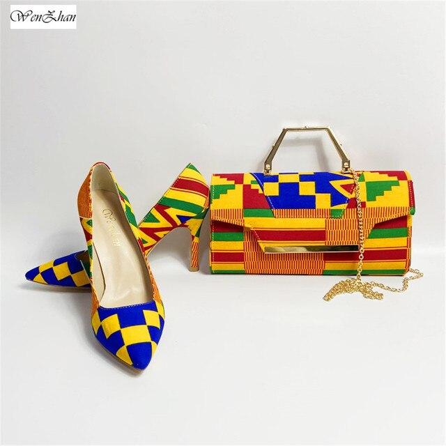 WENZHAN yüksek topuk ayakkabı karışık afrika pamuk balmumu kadın ayakkabı pompaları eşleşen el çantası setleri 36 43 912  4