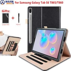 Image 1 - Для планшета Samsung Galaxy Tab S6 10,5 чехол, SM T860 SM T865, крышка для 2019 Samsung Galaxy tab S6 планшет Funda с держателем для рук