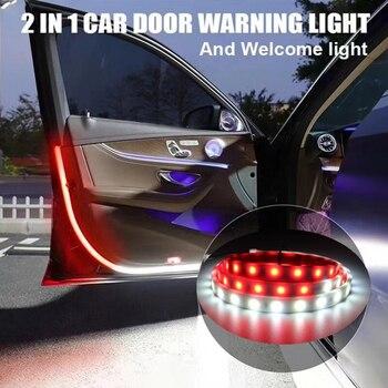 Автомобильные двери, открывающиеся предупреждающие огни, светодиодные, добро пожаловать, Декор, лампы, полоски, безопасность столкновения, ...