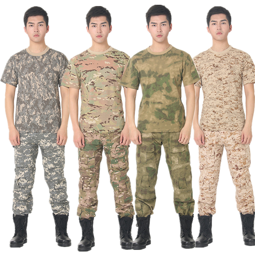 12Color Men Summer Military Uniform Tactical T-shirt Special Forces Top 100% Short Sleeve Army Camouflage Combat Costumes
