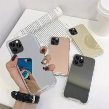 Gasbag Drop Proof Mirror Cases for iphone SE 2020 XR 7 8 XS MAX 11 Pro Max X 6 6S Plus 7Plus 8Plus Airbag Soft TPU Phone Cover wood floral soft silicone edge mobile phone cases for apple iphone x 5s se 6 6s plus 7 7plus 8 8plus xr xs max case